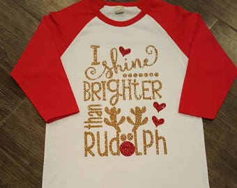 FREE SHIPPING**Shine brighter than Rudolph, Christmas, Rudolph, Red nose, Glitter