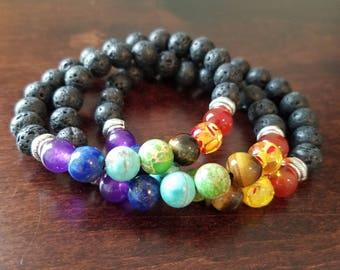 Aromatherapy Essential Oil Diffuser Lava Stone Bracelets - Set of 3