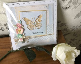 Handmade hand-stitched butterfly shaker birthday card