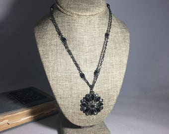 Vintage Silver-tone Double-Strand Costume Statement Necklace