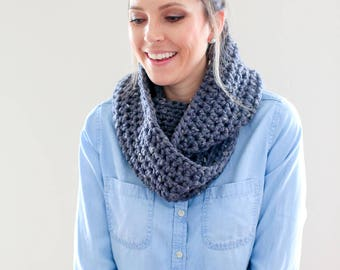 Chunky Knit, Infinity Scarf *The Charlotte* in Granite