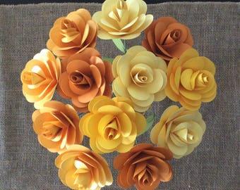 Yellow Paper Flowers| Orange| Paper Roses| Paper Flower Bouquet| Stemmed Paper Flowers| Paper Flower Arrangement| Paper Flower Centerpiece
