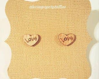 Timber heart stud earrings (small)