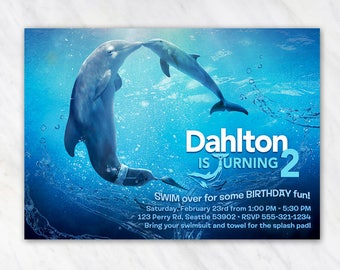 Dolphin Tale Invitation for Birthday Party - Printable Digital File