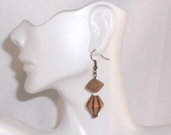 Handcrafted Carved Wood Bead Drop Dangle Earrings
