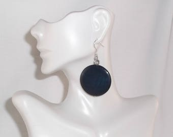 Navy Dangle Earrings Tinted Navy Blue Sea Shell Disk