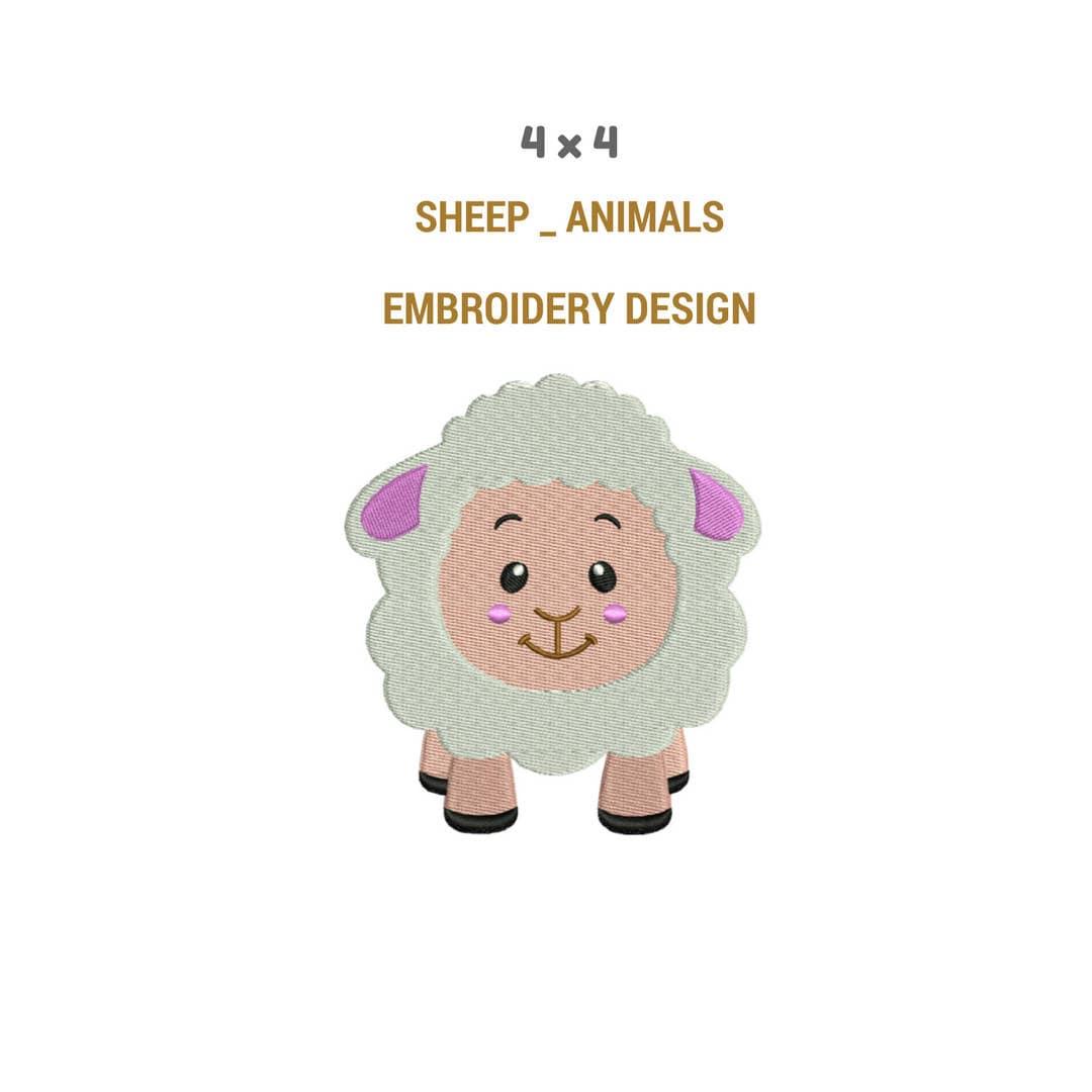 Sheep embroidery design fur machine