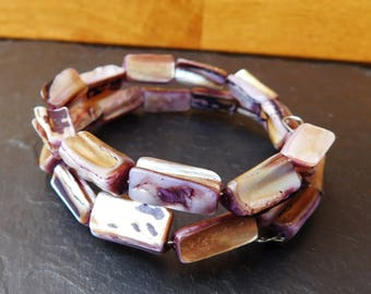 Purple, amethyst style, glass wrap-around bracelet (wrap bracelet)
