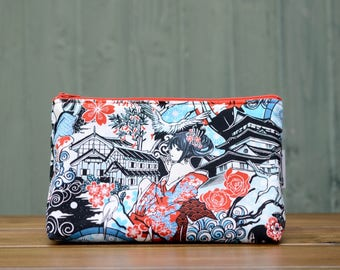 Handmade manga comic japanese geisha oriental zippered make up / toiletries / cosmetics / wash bag pouch, fully lined