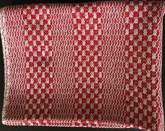 Bright pink & white Handwoven Dish Towel