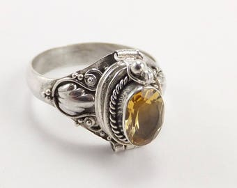 Sterling Silver Poison Ring Citrine Nov. Birthstone Free Shipping .925 Bali Sale!