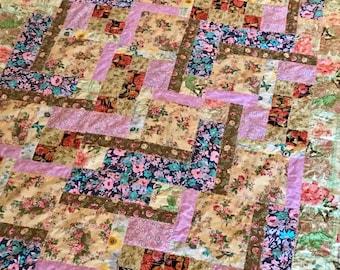 VIntage Flower Quilt, Lap Quilt