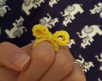 Yellow Crochet Bow Ring handmade gift costume jewelry crochet bow ring crochet bow crochet accessories crochet yellow bow crochet accessory