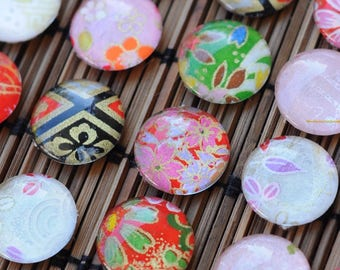 Assorted glass fridge magnets - Japanese Yuzen origami paper - authentic colorful designs - 20mm glass set of 8 to 12 - gift for her