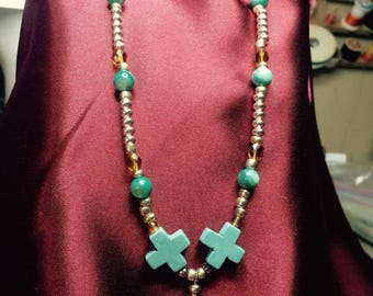 Turquoise cross bead seed necklace