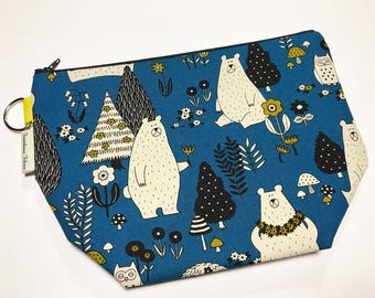 CLEARANCE - Medium Project Bag - Bears in the Blue Forest