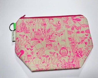 CLEARANCE - Medium Project Bag - Neon Forest Sketch