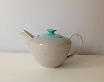 Large vintage 1950s  ice green and seagull Poole pottery tea pot.