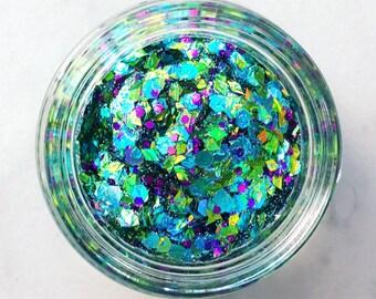 Mystic Mermaid Glitter • Festival Glitter •  Glitter Makeup • Chunky Cosmetic Glitter | Dance - Eyes, Lips, Face | Face Paint Glitter