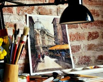 Smardan Street - Stock Exchange Palace Bucharest  Original Watercolor Painting 38*28cm