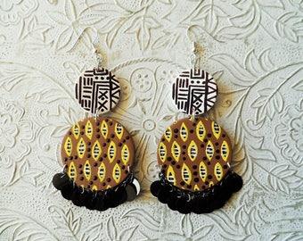 African Ankara inspired earrings