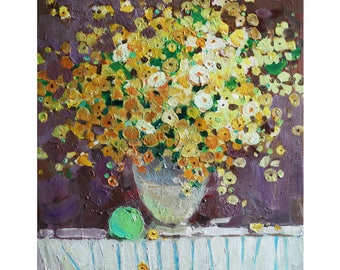 "Original New Art Impressionism Spring Still life Yellow Flowers Oil on canvas Painting ""LITTLE BOUQUET"" 18,5X14 IN by Anna Gusarova"