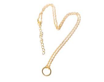 Gold-plated chain circle circle |  Minimalist