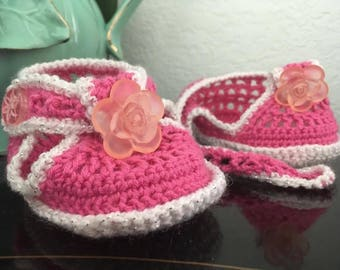 """Pink and White Crochet Flower Booties 6-12mo (4.25"""")"""