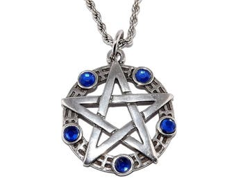 Pagan Occult Blue Pentagram Pendant Necklace with Chain