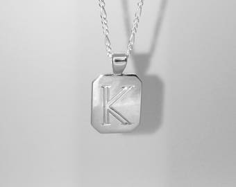 Hand engraved Sterling Silver Initial Pendant With Sterling Silver Chain
