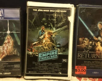 1982 Star wars 1984 The empire strikes back and 1986 Return of the jedi Vhs Pal