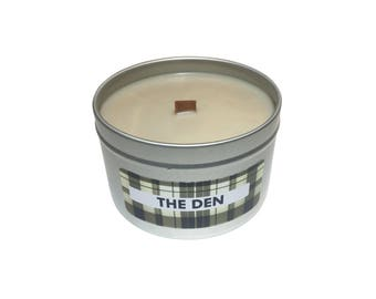 The Den - Scented Soy Wax Candle, 8 oz Tin with Wooden Wick