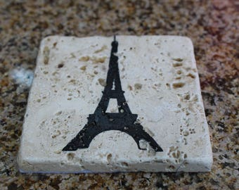 PARIS COASTERS | Stone Coasters (4) | Wine Coasters, Drink Coaster, Mother's Day, Gifts, Eiffel Tower Coaster, Coaster