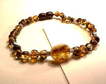 Natural Baltic Amber Bracelet uni-sex with Big Amber Piece