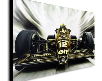 Ayrton Senna Lotus  Canvas Wall Art Print - Various Sizes