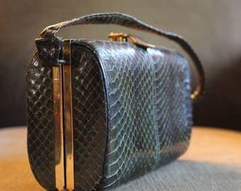 Vintage Forest Green Snakeskin Handbag