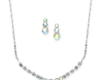Dainty Crystal Rhinestone Bridesmaid or Prom Necklace Set 1053S
