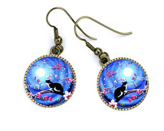 Buckles of ears cats sunset, blue, pink flowers, mother's day. R53
