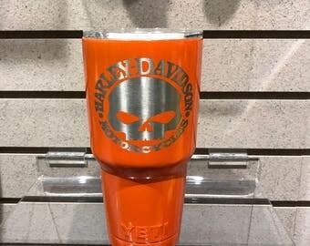 Harley Davidson custom powder coated lazer etched yeti tumber 30oz