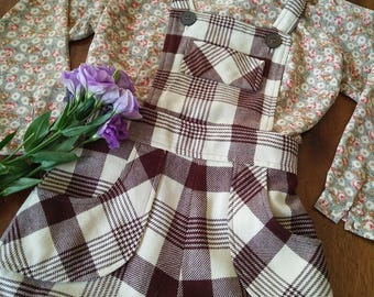 Vintage Checked Pinafore Dress