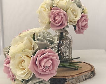 Bridesmaid bouquet. Blush pink, ivory and grey.