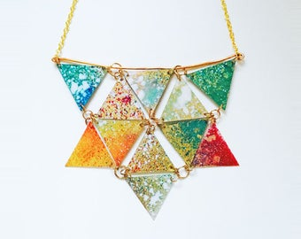 Triangles geometric necklace - Reversible bib necklace for woman - Colorful jewelry for lady - Geometric jewellery - Boho jewelry gift