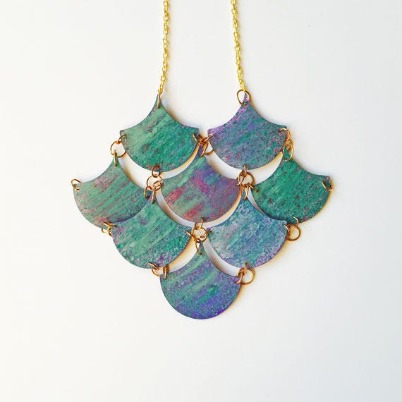 Mermaid necklace - Scales jewellery - Mermaid pendant - Beach necklace - Sea charm - Mermaid Fan - Colorful jewelry for lady - Gift for her