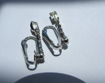 Silver tone clear stone earrings