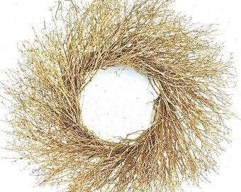Gold Quail Brush Wreath | Quail Brush Wreath | Gold Wreath | Home Decor