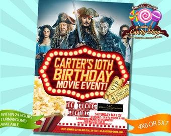 Pirates of the Caribbean, Invitation, Decorations, cinema, digital, Invite, Movies, custom, personalized, birthday, party, ticket, Printable
