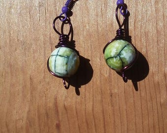 Green Agate Wire Wrapped Earrings