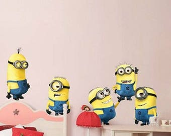 5 Minions Removable Wall Decal for kids room