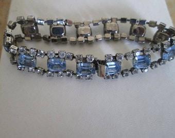 Vintage Rhinestone & Blue Gem Bracelet