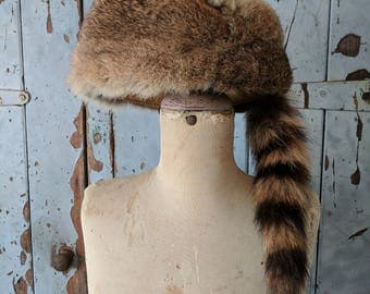Vintage real fur Raccoon tail hat